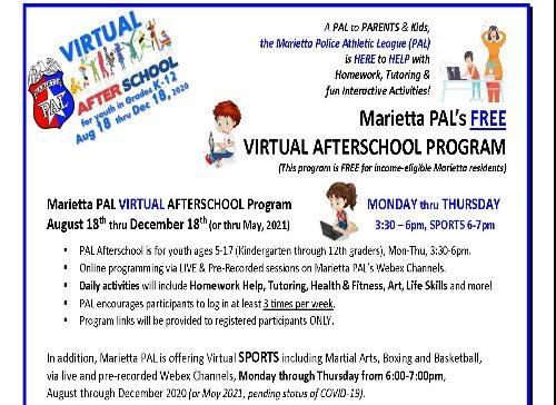 MARIETTA PAL 2020-21 Virtual Afterschool Program Flyer2