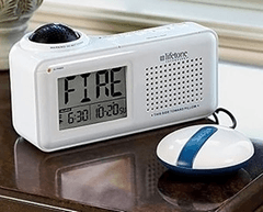 A Lifetone alarm sitting on a table