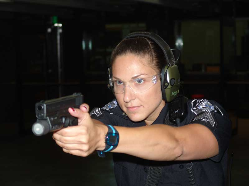 SPO Amy Valente with the Glock 22 and M3 light