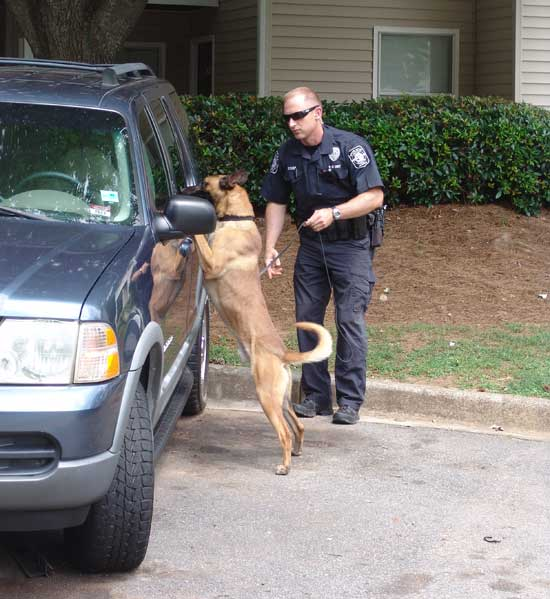 Officer Mark Bishop and K9 Bono during training