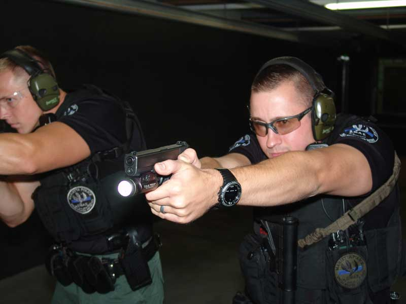 Officer Jordan Mileshko with the Glock 22