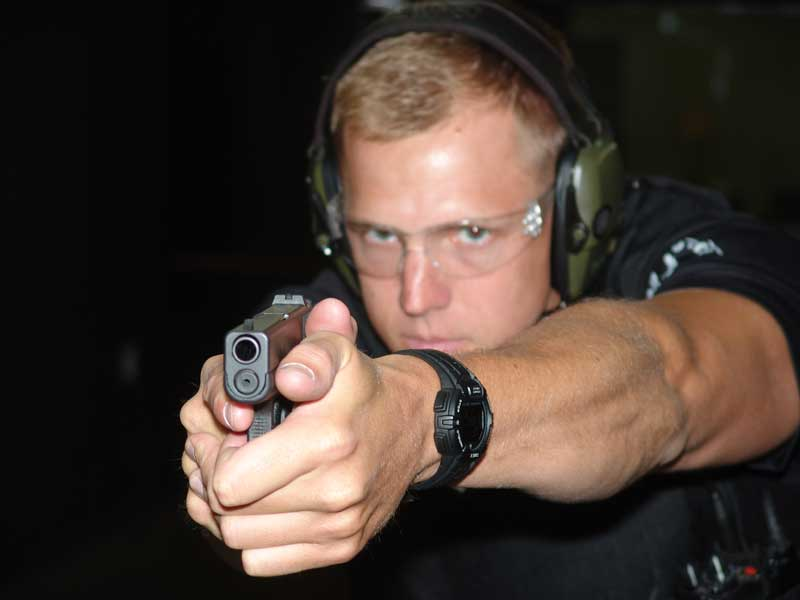 Officer Adam Bradley with the Glock 42