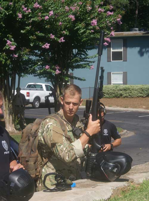Marietta PD snipers during an integrated dynamic entry SWAT training Scenario
