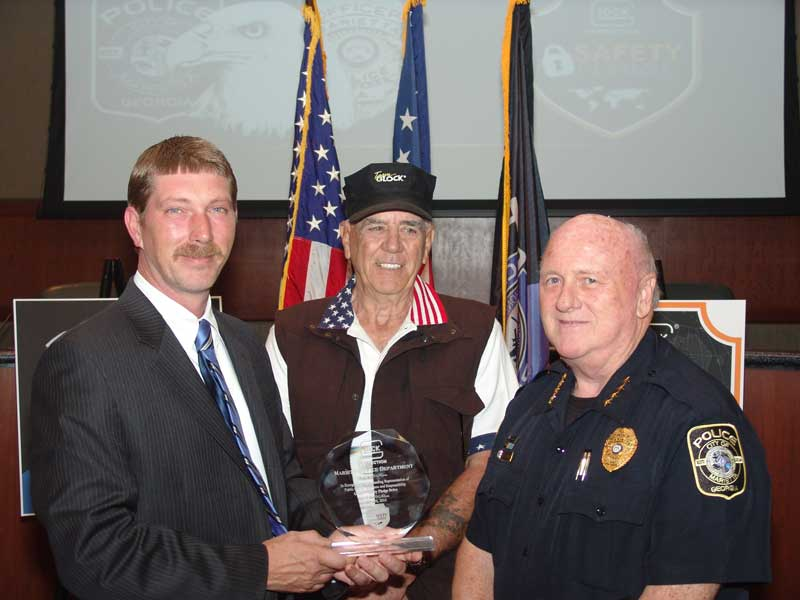 GLOCK VP Chad Mathis, left, R. Lee Ermey, center, Marietta PD Chief Dan Flynn, right (3)