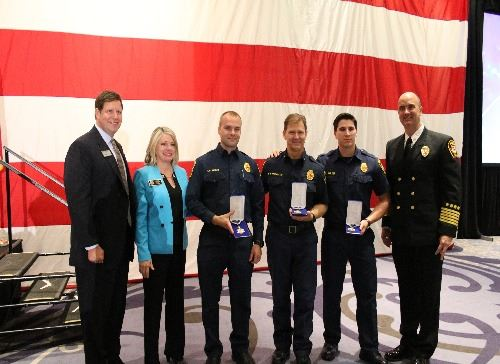 Engine 55 Crew receives Medal of Valor from Cobb Chamber of Commerce