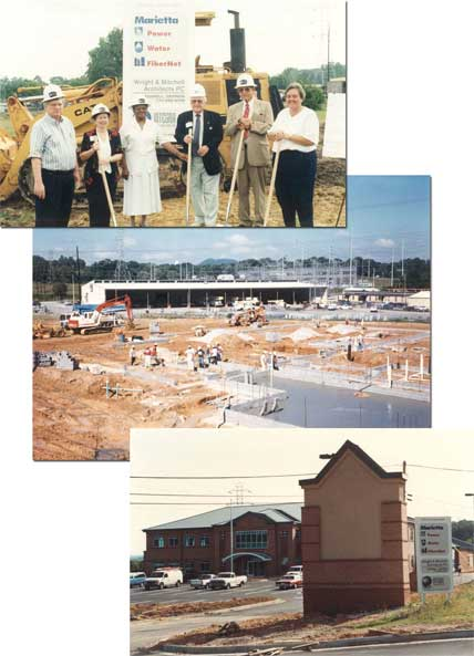 A collage of three photos showing a ground breaking, the start of a building, and the building