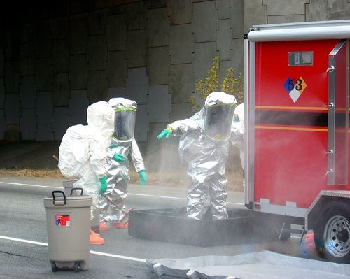 Team Goes Through Decontamination